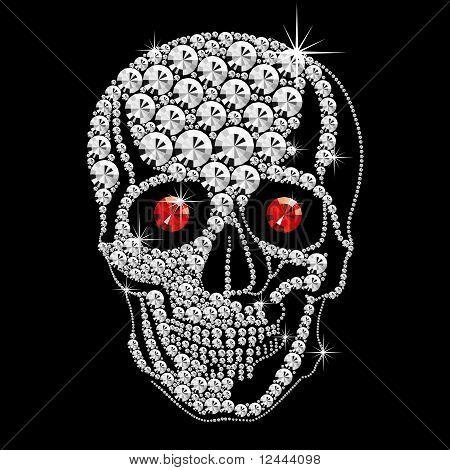 Crânio de diamante com olhos vermelhos