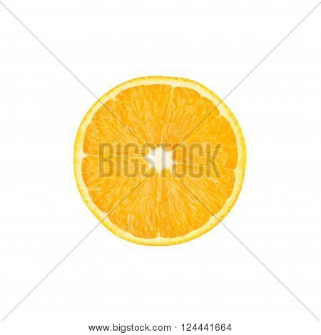 Ripe orange cut in half isolated over the white background, top view