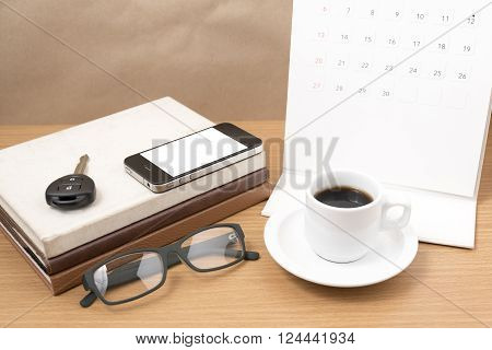 wooden working table with tools for work