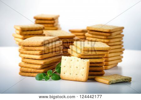 bunch of salty crackers stacked in to the pillars