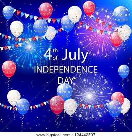 Independence day background with balloons, pennants and fireworks, illustration.