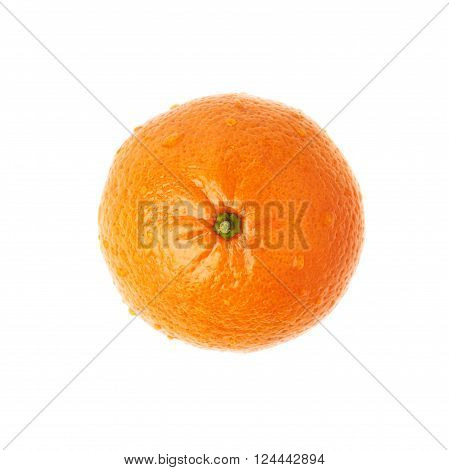 Fresh juicy tangerine ripe fruit covered with the multiple water drops, isolated over the white background, top view