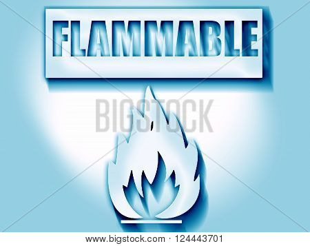 Flammable hazard sign with yellow and black colors