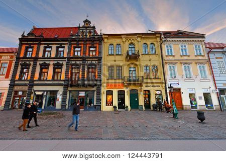 KOSICE, SLOVAKIA - MARCH 19, 2016: People in the historic main square  of Kosice city in eastern Slovakia on March 19, 2016.