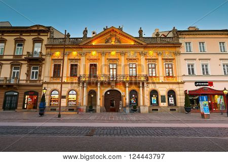 KOSICE, SLOVAKIA - MARCH 19, 2016: SHistoric architecture in the main square of Kosice city in eastern Slovakia on March 19, 2016.