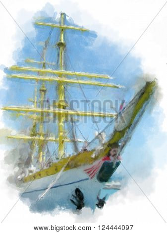 Sail ship with yellow masts with painting effect.