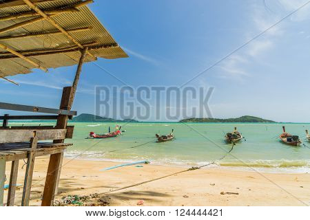 Phuket, Thailand - 20 JANUARY 2016: Long tail boats at the sea gipsy fisherman village in Rawai Phuket province Thailand. Phuket January 20,2016