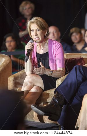 MADISON WI/USA - March 28 2016: Former Republican presidential candidate Carly Fiorina speaks during a free public forum on women's issues in Madison Wisconsin.