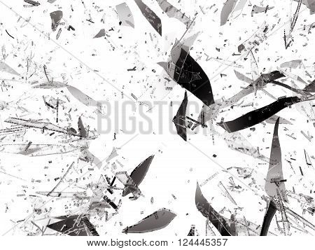 Shattered Or Damaged Pieces Of Glass Isolated