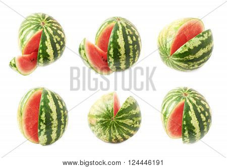 Watermelon fruit with the single slice piece cut off, isolated over the white background, set of six different foreshotenings