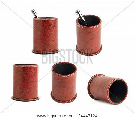 Red leather pen holder cylinder box isolated over the white background, set of five foreshortenings