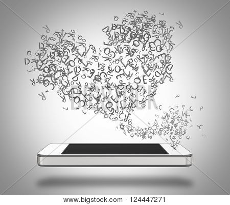 Three-dimensional illustration of smartphone with blank screen and heart shaped words emanating from it.