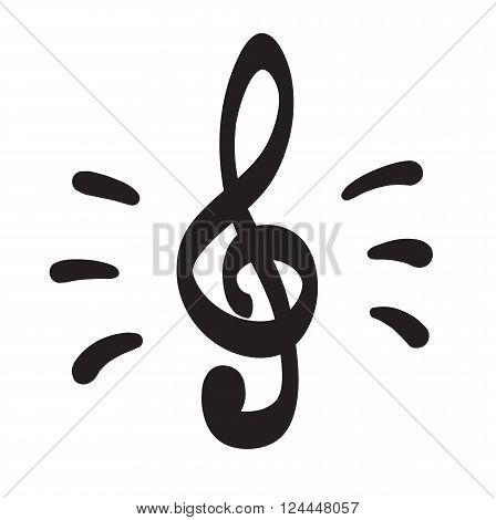 Violin Key Icon Hand Drawn Making Sound