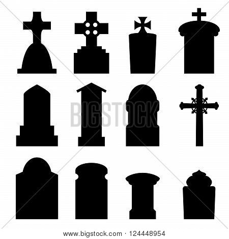 Set of headstone headstone and tombstone silhouette in europe style. vector illustration.