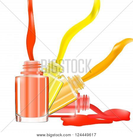 Bottles with spilled nail polish over white background with splatter enamel. 3D illustration. Vivid bright colors: red pink yellow orange. vector illustration