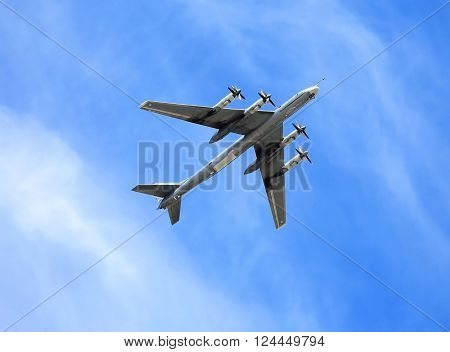 Russian long-range strategic bomber Tu-95 in flight