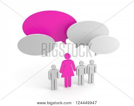 Leadership concept. Women pride. 3d illustration