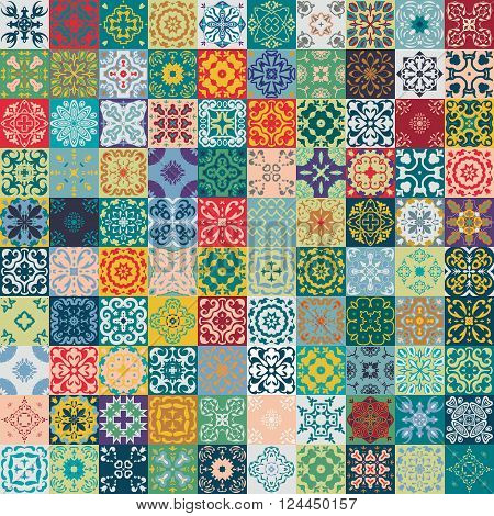 Gorgeous floral patchwork design. Moroccan or Mediterranean square tiles tribal ornaments. For print pattern fills web page background surface textures. Indigo blue teal green olive.