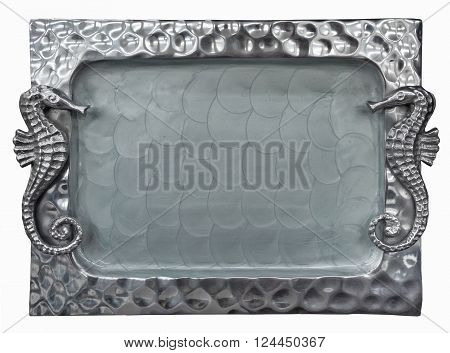 Decorative silver tray  with sea Horse isolated on white