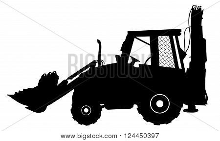 Vector detailed silhouette of bulldozer isolated on white. Vector illustration