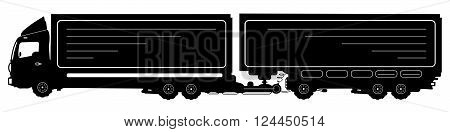 Vector Detailed Silhouette Of Truck With A Trailer Isolated On White. Vector Illustration