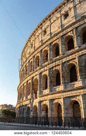 Colosseum with the beautiful sunset light, Rome, Italy.