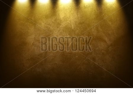golden painting with spotlight background