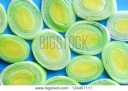 closeup of the leek slices on plate