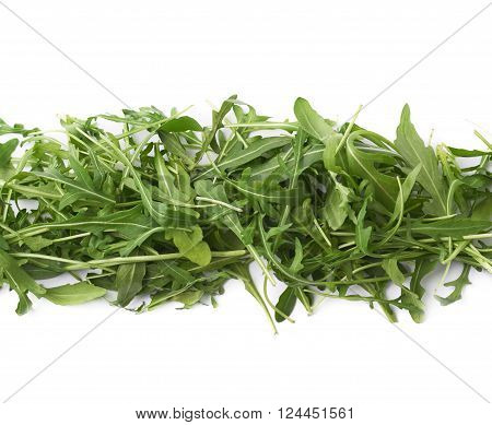 Eruca sativa rucola arugula fresh green rocket salad leaves lined up in a row, composition isolated over the white background