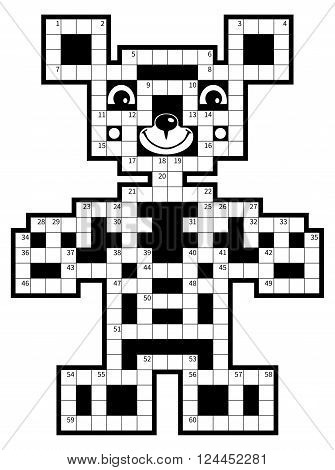 Crossword puzzle - cute bear. Vector illustration.