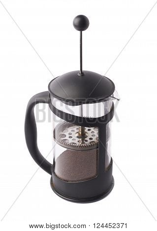 French press pot coffee maker filled with the ground coffee, composition isolated over the white background