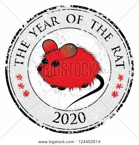 Rat mouse chinese horoscope animal sign. The vector stamp art image in decorative style
