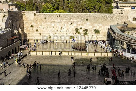 Sep 19 2012. Jerusalem. Jews praying at the Wailing Wall in the old city of Jerusalem. Israel.
