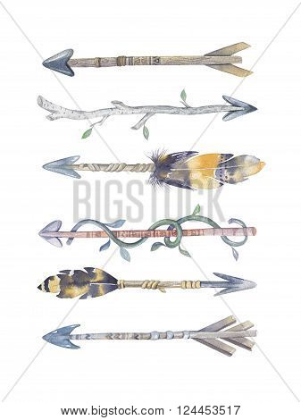 Watercolor aztec boto arrows set with Hand Painted Leaves and feathers.Watercolour isolated on white background. america tribal eco natural decoration print. Indian weapon tomahawk