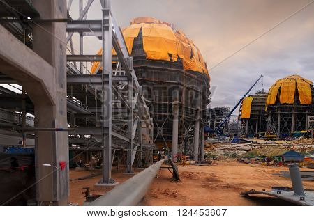 Spherical type ,LPG Storage tank in Construction .