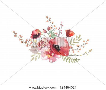 Watercolor vintage floral bouquet. Boho spring flowers and leaf frame isolated on white background: succulent branches leaves feathers berries peony rose. Hand painted natural design