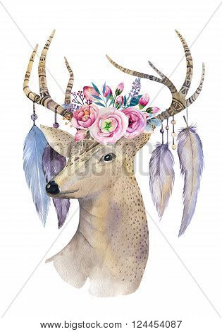 Deer hand painted watercolor illustration isolated on white background. Watercolour deer head with flowers arrows and feathers.Decoration mammal. Save the date card.bohemian hipster animal. T-shirt graphics
