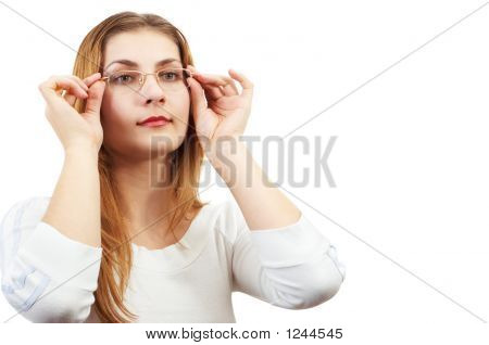 Girl Looking Through Glasses