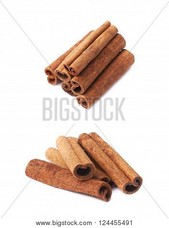 Pile of cinnamon sticks isolated over the white background, set of two different foreshortenings