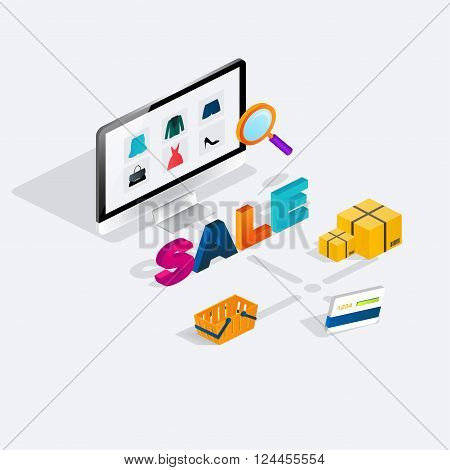Flat 3D Web Isometric E-commerce Sale, Electronic Business, Online Shopping, Payment, Delivery, Ship
