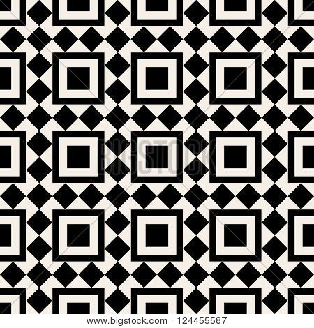 Black And White Square Abstract Retro Pattern