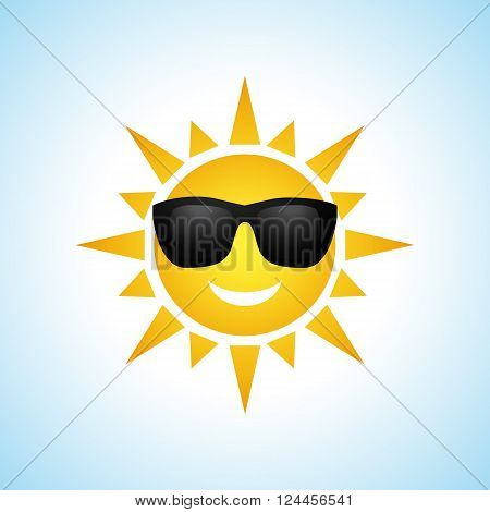 Cute yellow sun symbol in sunglasses isolated on white background. Vector illustration for summer design. Cartoon happy sunny icon art. Hot spring expression. Fun sunlight character.