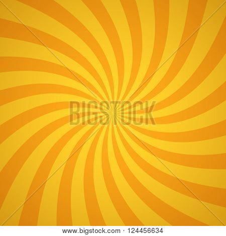 Swirling radial pattern background. Vector illustration for summer circus design. Vortex starburst spiral twirl square. Helix rotation rays. Converging yellow scalable stripes. Fun sun light beams.