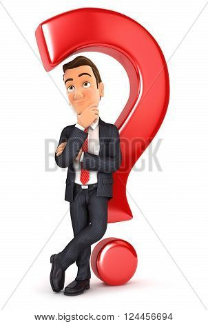 3d businessman leaning back against question mark isolated white background