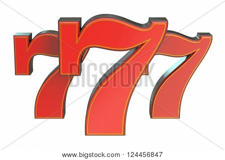 777 Lucky jackpot symbol 3D rendering isolated on white background