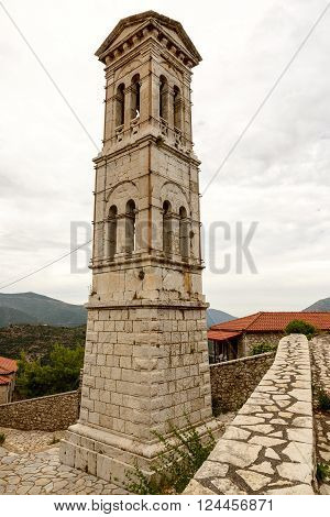 Stone belfry of church of Evaggelistria (Annunciation) at Karytena Greece