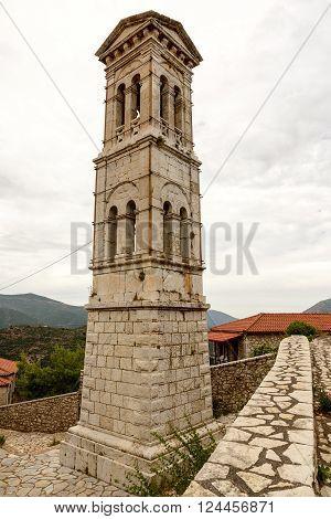 Stone belfry of church of Evaggelistria (Annunciation) at Karytena Greece
