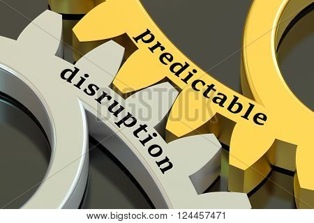 predictable disruption concept on the gearwheels 3D rendering