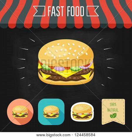 Double cheeseburger icon on a chalkboard. Set of icons and eco label. Flat design. Vector illustration