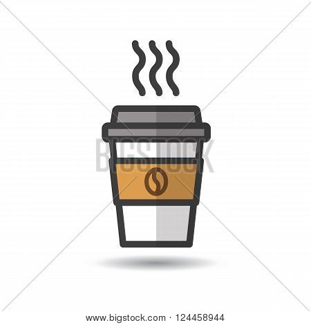 Disposable coffee cup icon with coffee beans logo. Vector, flat design